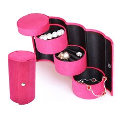 JUCESUPER Velvet Ring Box Jewelry Display Storage Foldable Case For Family Jewelry Collection Gift Organizer