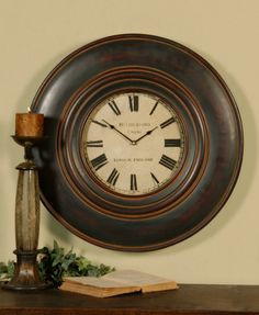 "Uttermost Adonis 24"" Wooden Wall Clock #wall #clock #home #decor #accent #decoration"