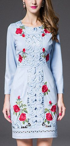 Blue Cut-Out Rose Print Dress