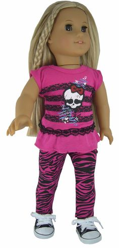 Hot Pink Skull T-Shirt  Zebra Leggings + Sneakers for American Girl Doll Clothes #Generic