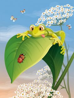 Froggie - you leave those ladybugs alone...