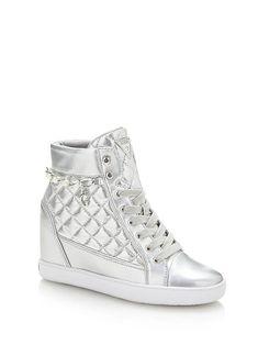 <ul><li>Metal-look wedge sneaker.</li><li>Lace-up model. Wedge Sneakers, High Top Sneakers, High Heels, Casual Boots, Casual Outfits, Fashion Ideas, High Tops, Girly, Wedges
