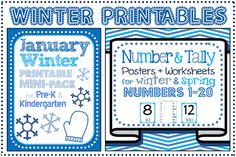 Winter themed printables for January. Math centers. Great for preschool, pre-k, kindergarten, 1st homeschool.