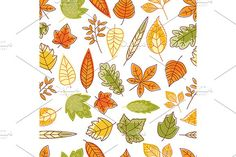Seamless pattern with autumn leaves Graphics Seamless pattern with outline abstract red, orange, yellow and green autumn leaves. EPS and JPEG fi by Vector Tradition SM