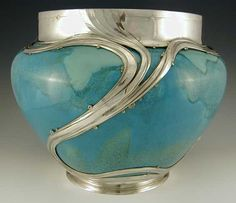 Ceramic jardiniere with Art Nouveau polished pewter decoration  Country of…