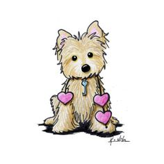 Heartstrings Cairn Terrier Art Print by Kim Niles. All prints are professionally printed, packaged, and shipped within 3 - 4 business days. Dog Drawing Simple, Cute Dog Drawing, Terrier Dog Breeds, Cairn Terriers, Dog Treat Jar, Marker Art, Dog Art, Easy Drawings, Pet Portraits
