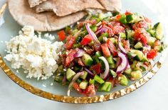 Turkish Shepherd's Salad: mediterranean vegetable salad with mint + some spices I'd like to try...