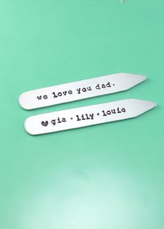 Personalized Collar Stays - Custom Father's Day gift - gift for him - hand stamped collar stays - collar stays with names - Collar Stiffs
