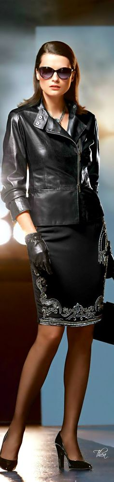 Business Chic - Leather jacket, pencil skirt