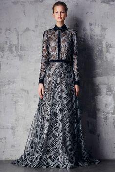 tadashi shoji prefall 2015 dresses button shirt long sleeves sheer black a line gown