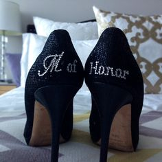 Maid of Honor Shoe Stickers in silver by YourHappilyEverAfter, $9.00