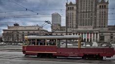 "13N tram, so called ""Parowka"" (wiener/frankfurter sausage), Warsaw downtown, Poland"
