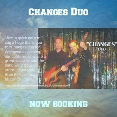 Changes Duo offer an excellent and truly memorable evening of party entertainment for iweddings, anniversaries, private parties and corporate events. Uk Parties, Wilson Pickett, The Blues Brothers, Dire Straits, Van Morrison, Bryan Adams, Roy Orbison, Buddy Holly, Chuck Berry