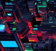 Aswad lanes 2 by Romain Trystram, via Behance City Illustration, Animation, Visual Development, Imagines, Simple Art, Motion Design, Artist Art, Cyberpunk, Pixel Art