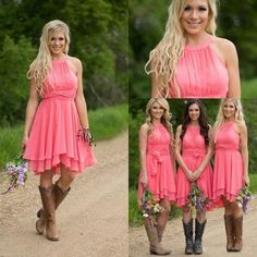 2016 cheap country coral bridesmaid dresses jewel neck chiffon knee length wedding guest wear party dresses maid of honor gowns under 100 online with Country Bridesmaid Dresses, Knee Length Bridesmaid Dresses, Wedding Dresses, Party Dresses, Dress Party, Party Wear, Casual Bridesmaid, Bridesmaid Gowns, Prom Dresses For Sale