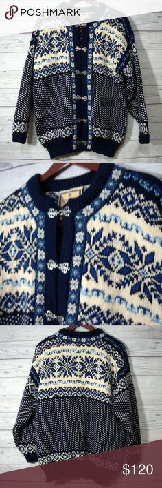 Dale Of Norway Wool Fair Isle Cardigan Sweater From Dale of Norway  Size M  Laying flat it measures: underarm to underarm - 23 inches across from back of neck to bottom - 30 inches  100% wool  Color: creme and blue  Gently used  From a smoke free and pet friendly home Dale of Norway Sweaters Cardigans