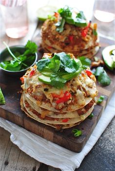 Chicken Taco Stacks - lime - jalapeno pepper - cilantro - chicken - red bell pepper - tortillas - shredded pepper jack cheese - avocado scallions