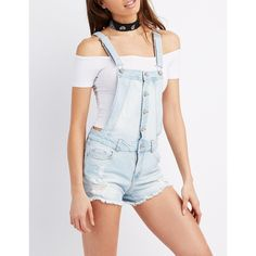 Refuge Distressed Denim Shortalls (£19) ❤ liked on Polyvore featuring jumpsuits, rompers, light wash denim, distressed overalls, shorts overalls, short overalls, short bib overalls and bib overalls