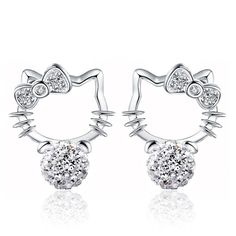 New Silver plated Shambhala Crystal Cat Stud Earrings agate stone imitation pearl Hello Kitty Earrings Bowknot jewelry for women♦️ B E S T Online Marketplace - SaleVenue ♦️👉🏿 http://www.salevenue.co.uk/products/new-silver-plated-shambhala-crystal-cat-stud-earrings-agate-stone-imitation-pearl-hello-kitty-earrings-bowknot-jewelry-for-women/ US $1.38