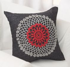 New crochet pattern from Bernat for a throw pillow with a doily. Very cute!