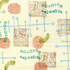 Hand Stamped MidCentury Modern Design Fabric by CarolynsStampStore, $19.95 - https://www.etsy.com/listing/124441444/hand-stamped-mid-century-modern-design