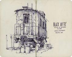 Top -Black Eden-Lake County, pen on paper, 2014 full drawing, http://patperry.net/blog