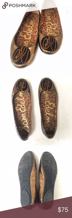 """Sam Edelman gold leather ballet flats Sam Edelman gold leather flats with crystal encrusted patches on the toes that say """"SE"""" in a cool abstract way. Barely any visible wear. Comfortable and not missing any crystals 😇🔸🔶🔷🔹💎✨ Sam Edelman Shoes Flats & Loafers"""