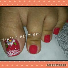 ROJO PASIÓN💅 Pretty Toe Nails, Cute Toe Nails, Cute Toes, Pretty Toes, Toe Nail Art, Cute Pedicure Designs, Toe Nail Designs, Cute Pedicures, French Pedicure