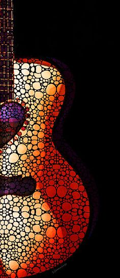 Guitar Art - She Waits Painting by Sharon Cummings - Guitar Art - She Waits Fine Art Prints and Posters Guitar Painting, Guitar Art, Dot Painting, Guitar Drawing, Music Painting, Drawing Art, Sale Poster, Guitar Design, Arte Pop