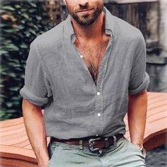 Hot Men's Linen Shirts V-neck Summer Casual Shirt Loose Plain Basic Solid Color Buttons Long Sleeve Tops Short Sleeve Linen Shirt, Long Sleeve Shirt Dress, Long Sleeve Tops, Dress Long, Short Sleeves, Ibiza, Style Brut, Men's Style, Casual Shirts For Men