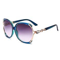 53a8f150b483 HOHAUSA Retro Fashion Oversized UV400 Sunglasses for Women UV Protection  (Blue Frame)