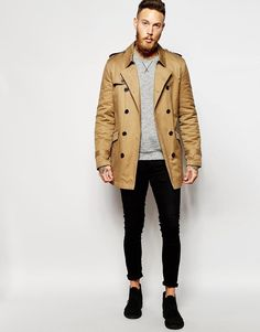 ASOS | ASOS Trench Coat With Belt In Tobacco at ASOS