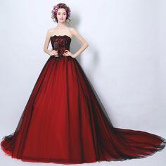 Corzzet Plus Size Elegant Red Lace&Tulle Bride Banquet Elegant Prom Dress Women  Robe De Soiree Longue Formal Evening Gowns #Affiliate