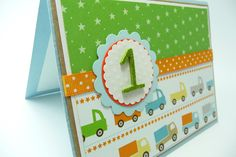 First Birthday Card, 1st Birthday for a Boy Card, Handmade Paper Greeting Card, Toy Truck Card. $4.50, via Etsy.