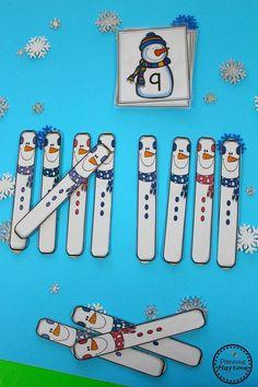 Snowman Tally Sticks Math Activity for Kids.