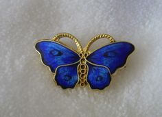 Opro Blue enamel butterfy brooch/pin