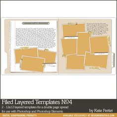 Filed Layered Templates No. 04 - Digital Scrapbooking Templates