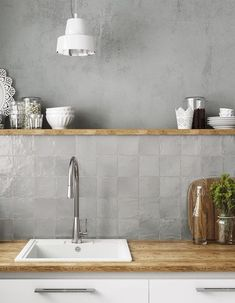 Ivy Hill Tile Amagansett Grey 4 in. x 4 in. / - The Home Depot - Ivy Hill Tile Amagansett Grey 4 in. x 4 in. / – The Home Depot New Kitchen, Kitchen Decor, Kitchen Grey, Kitchen Pantry, Design Kitchen, Country Kitchen, Ceramic Wall Tiles, Ceramic Decor, Cuisines Design