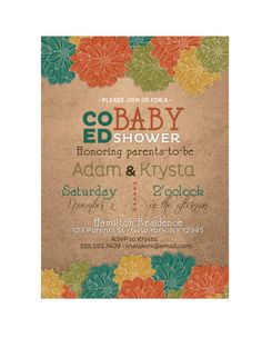 Coed Fall baby shower invitation by PaisleyDayneDesigns on Etsy, $12.00