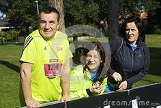 Rome Marathon Competitors -Three competitors in the Rome half marathon stood together on the 1st of March 2015. Photo taken on: March 01st, 2015
