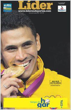 "He left us speechless   Cover of ""Líder en Deportes""   Venezuela 02/08/2012   Pictured: Ruben Limardo"