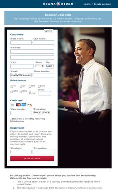 Obama fundraising form with full photo on right and form on left