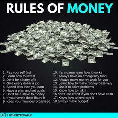 finance investing Rules Of Money Financial Quotes, Financial Literacy, Financial Peace, Investment Tips, Retirement Investment, Investment Quotes, Planning Budget, Budget Planer, Make Easy Money
