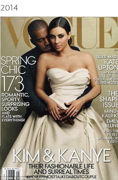 Icons: Vogue has always primarily focused on fashion, however the way it shares its vision with the world has certainly changed over the years, going from high-fashion photographs to celebrity-centered shoots, including the now-infamous Kim and Kanye cover (pictured)