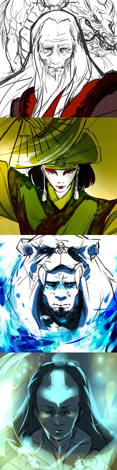 Avatar Roku, Kyoshi, Kuruk, Yangchen ( I think I'm suck at drawing water D: )