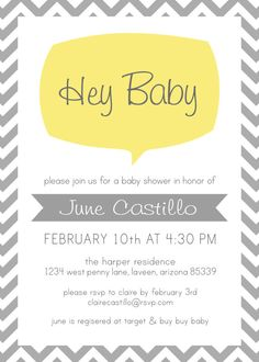 Hey Baby Modern Baby Shower Invitation PRINTABLE by AlisonCastillo, $15.00