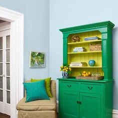 This snappy green shade makes a vintage hutch look new. | Photo: Julian Wass | thisoldhouse.com