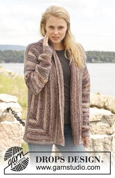 "Knitted DROPS jacket in garter st in 2 strands ""Fabel"". Size: S - XXXL. ~ DROPS Design"