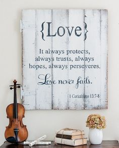 {Love} It always protects, always trusts, always hopes, always perseveres. Love never fails. I Corinthians Wood sign by Aimee Weaver Designs (Woodworking Signs) Love Wood Sign, Rustic Wood Signs, Wooden Signs, Beatles Songs, Wedding Quotes, Wedding Verses, Wedding Vows, Wedding Bible, Diy Holz