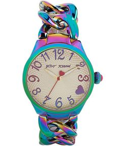 Betsey Johnson Women's Iridescent Stainless Steel Link Bracelet Watch 36mm BJ00297-04